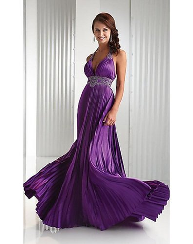 Open Back Halter Sheath Column Floor Length Ruffles Satin Purple Prom DressesOutlet