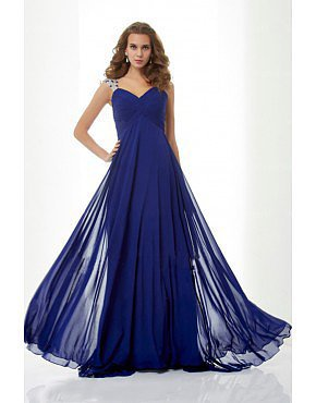 Princess Straps Sleeveless Beaded Sweep Prom Dress Dark Royal Blue