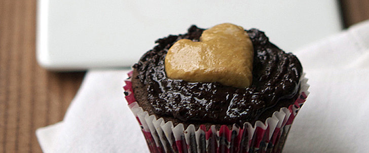 Precious Peanut Butter Hearts Adorn Chocolate Cupcakes