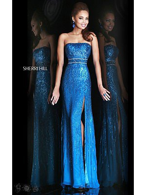 Peacock Sequins Prom Gown Sherri Hill 8542
