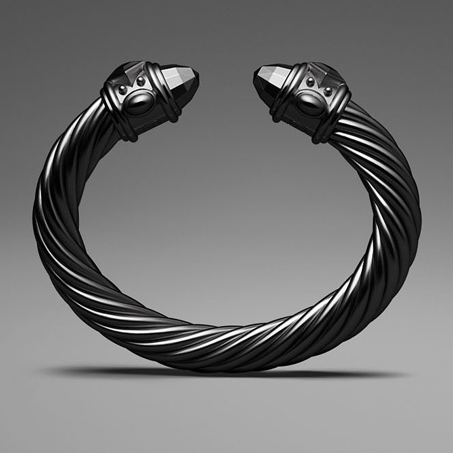 David Yurman Black Aluminum Cable Bracelet
