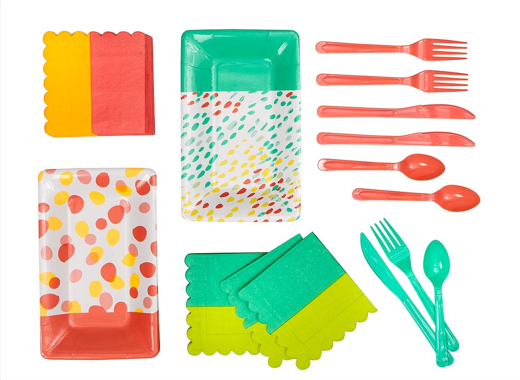 Cutlery, ($4 for 30), Printed Napkins ($3 for 20), and Printed Rectangle Plates ($3 for 10)