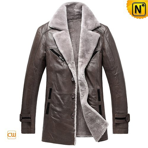 Mens Leather Shearling Lined Coat CW878249