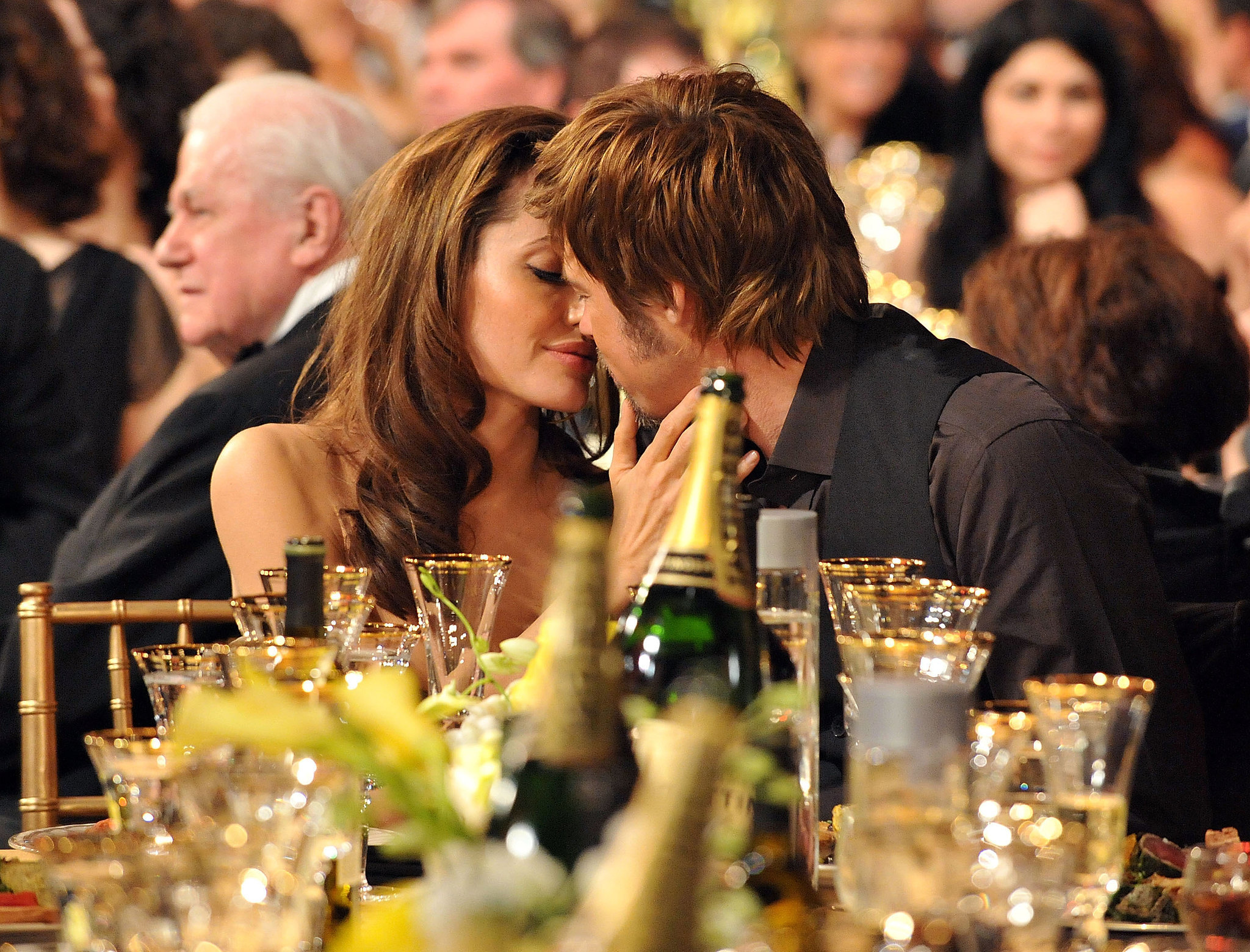 Angelina planted a kiss on Brad during the SAG Awards in January 2007.