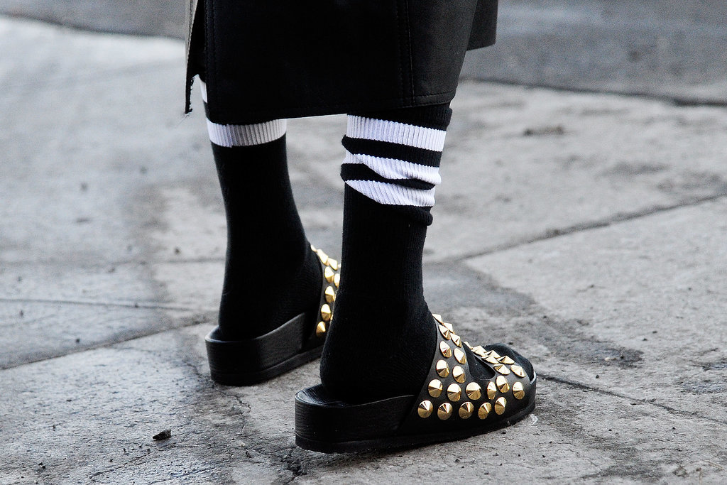 Studded slides aren't the most practical of Winter shoes, but they're definitely one way to get a jump-start on Spring's biggest trends.