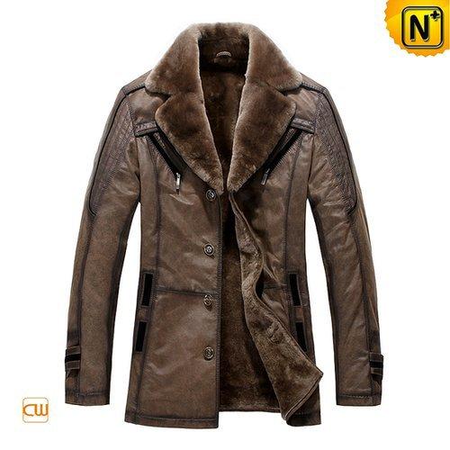 Sheepskin Lining Mens Leather Coat CW819173