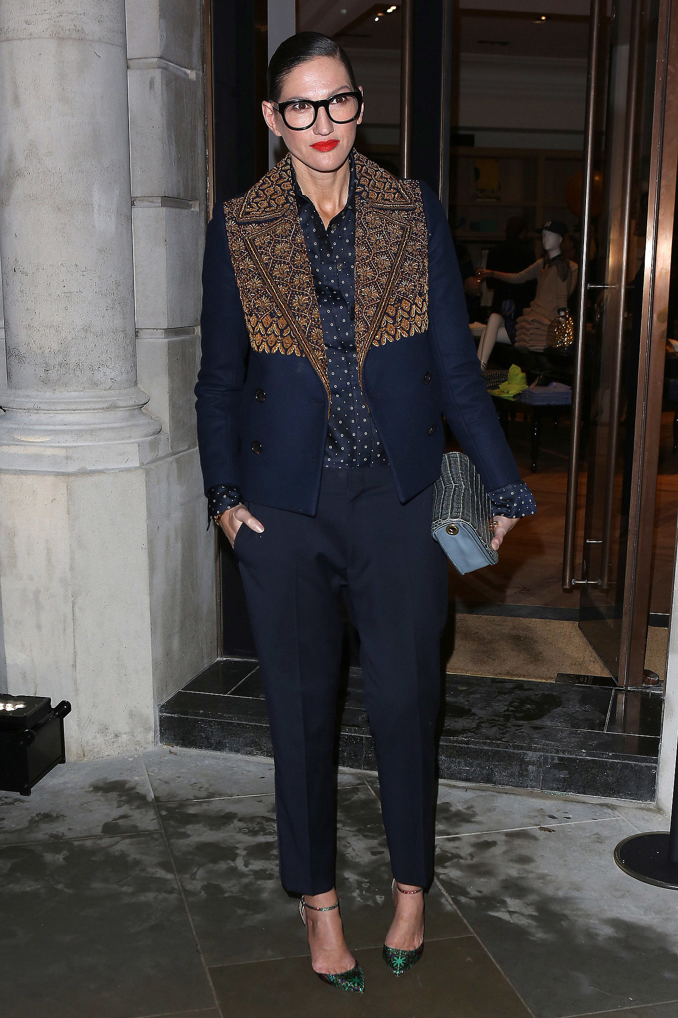 There's no such thing as too many prints for her, clearly, as she mixed a bold blouse with an even bolder jacket.