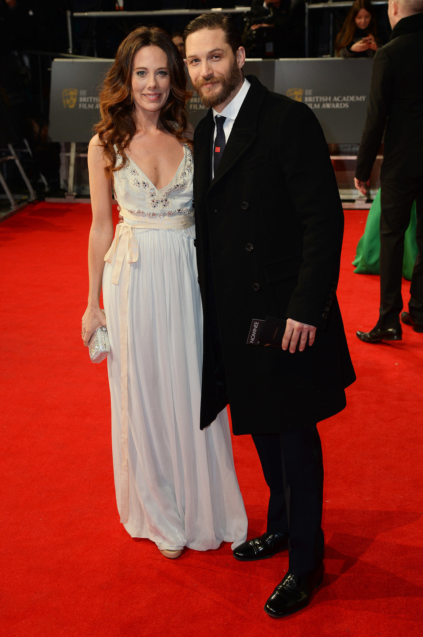 Tom Hardy and Kelly Marcel at the 2014 BAFTA Awards.
