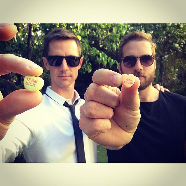 Jason Dohring and Ryan Hansen (aka Logan and Dick) celebrated Valentine's Day with their character-specific conversation hearts. Source: Instagram user theveronicamarsmovie