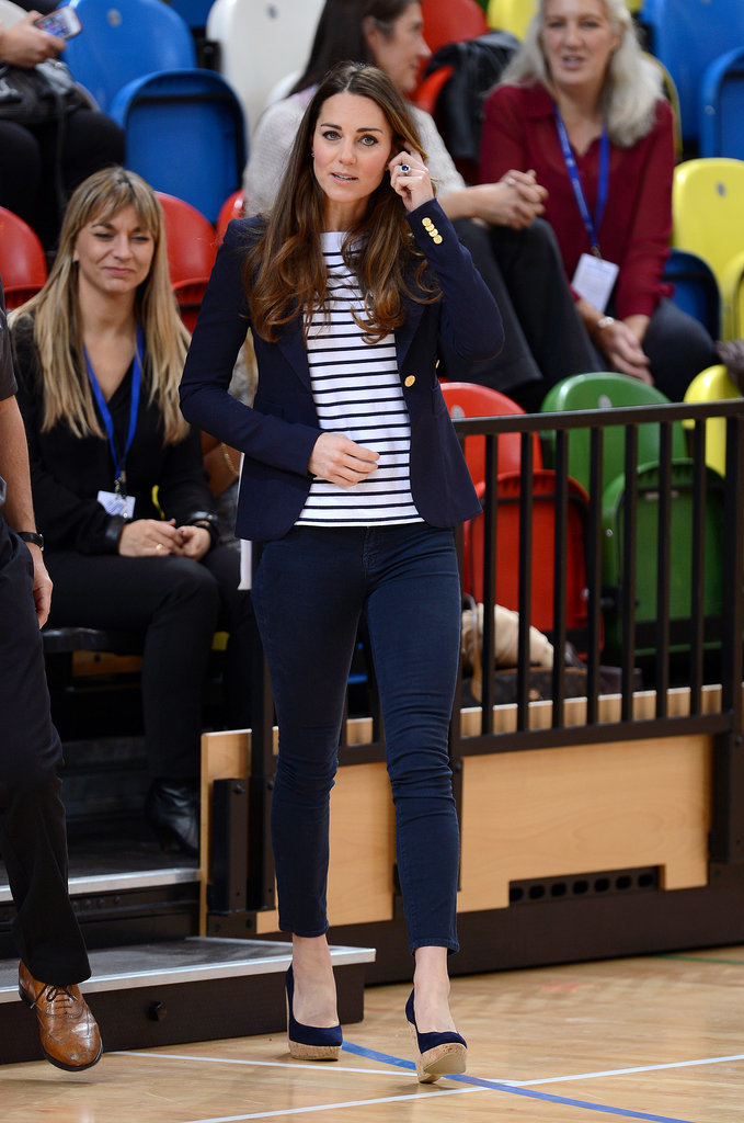 Kate Middleton in a Striped Top and J Brand Jeans