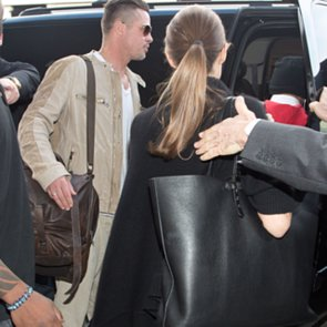 Angelina Jolie With Black Leather Everlane Petra Tote
