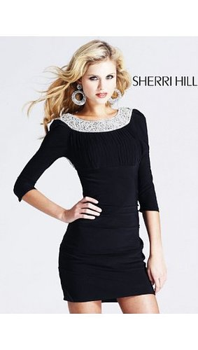 2014 Sherri Hill 1522 Open Back Wrap Short Dress Black