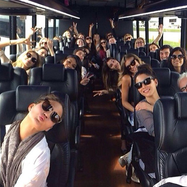 Chrissy Teigen showed off a bus full of models en route to Miami. Source: Instagram user chrissyteigen