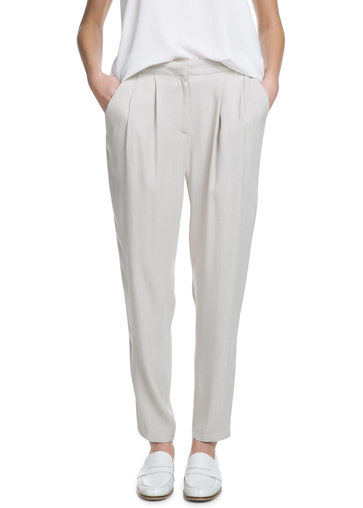 Mango White Crepe Baggy Trousers ($45)