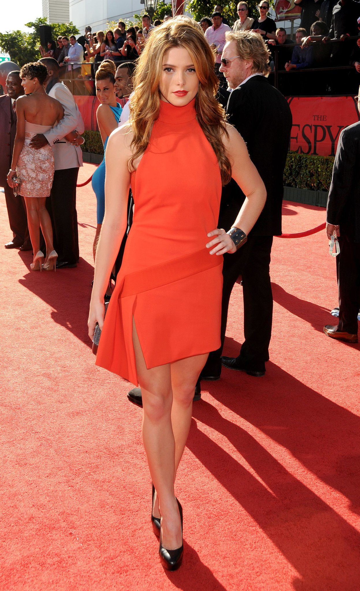 Ashley smoldered in a red-hot Versace dress at the 2010 Espy Awards.