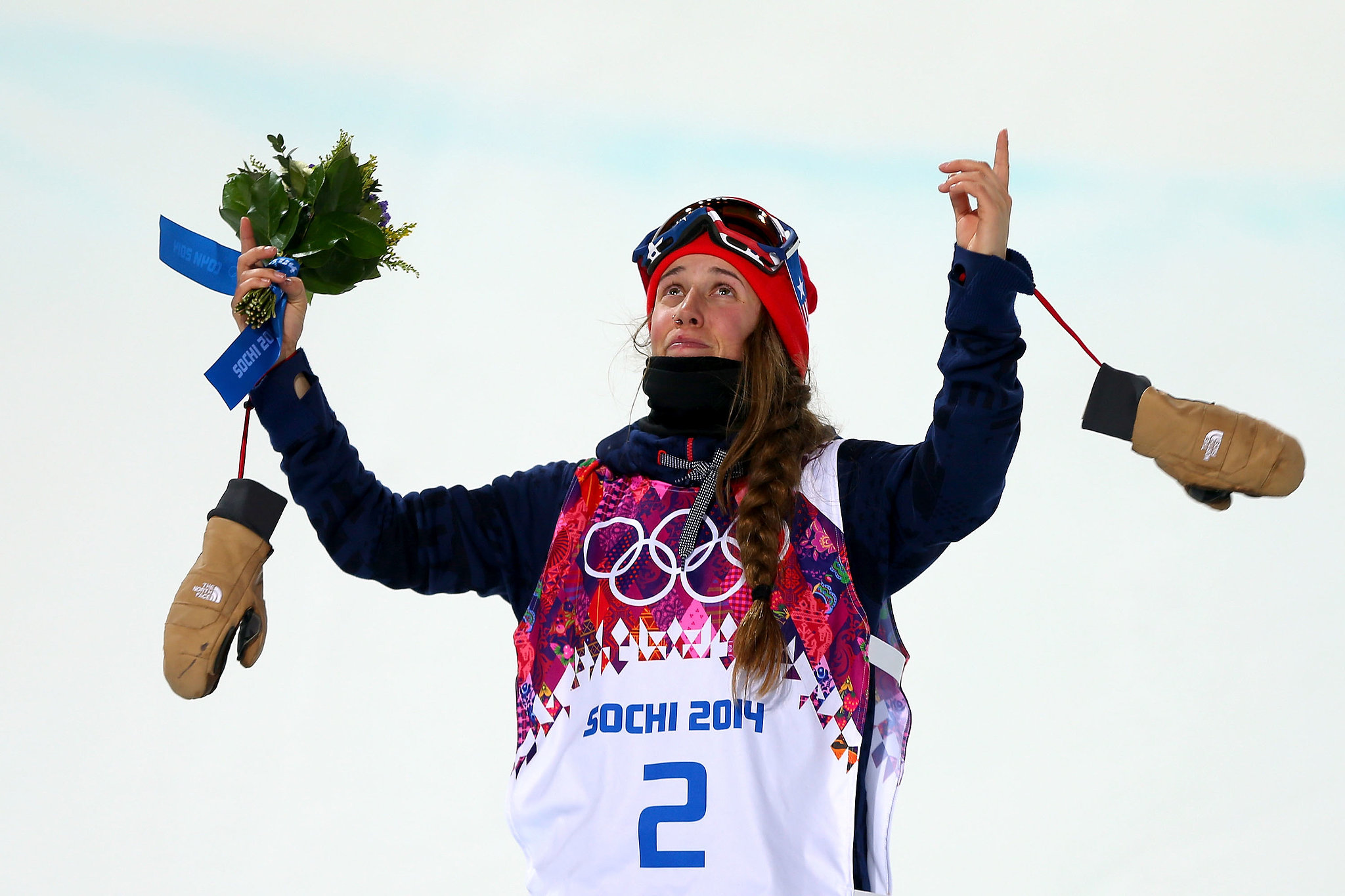 Maddie Bowman got emotional as she paid tribute to the late Canadian skier Sarah Burke at the podium.