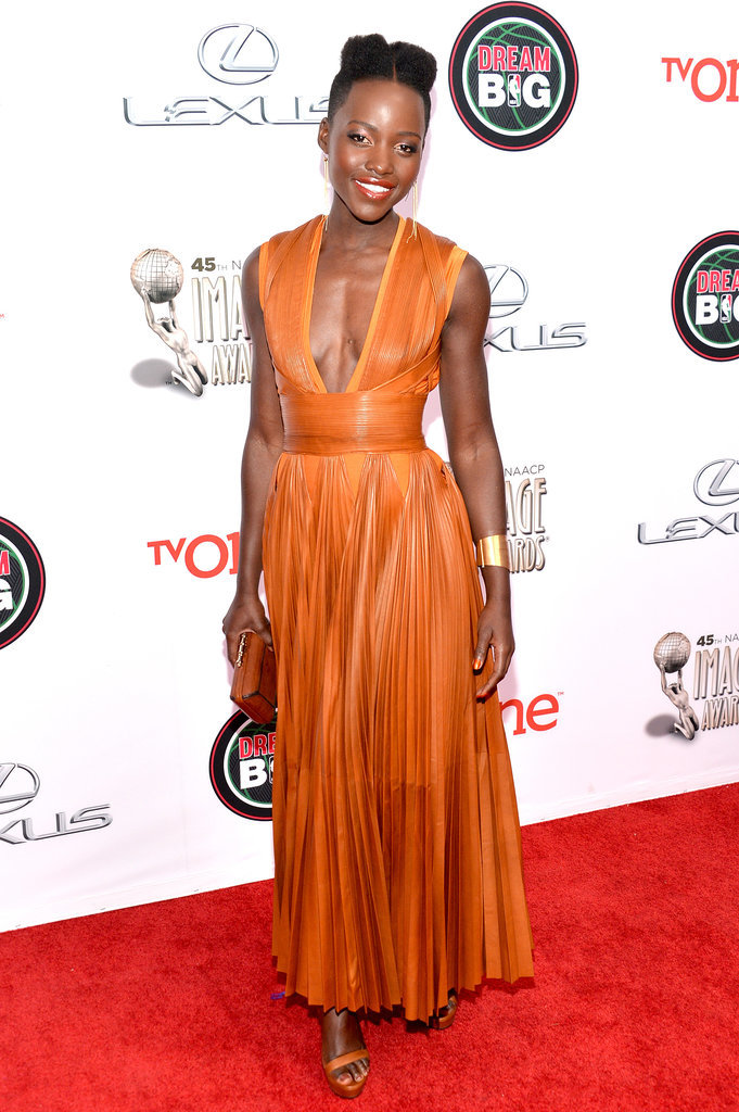 Lupita Nyong'o's Givenchy dress had a plunging neckline.