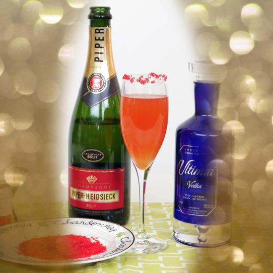 Cranberry-Peach Champagne Cocktail Recipe