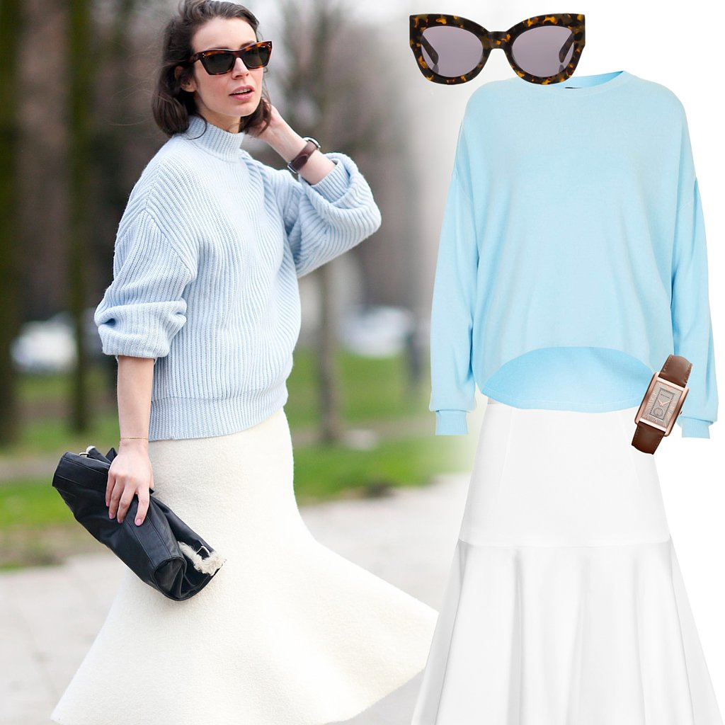 White Trumpet Skirt Outfit Idea