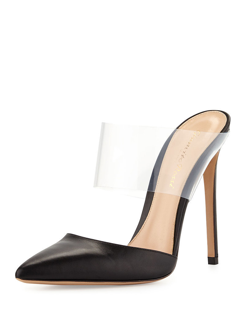 Gianvito Rossi Leather and PVC Slides ($760)