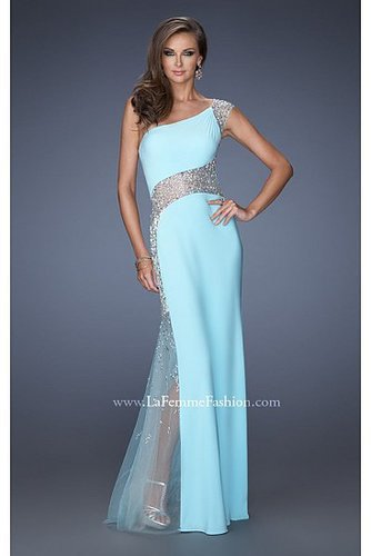 Prom Dresses Aqua One Shoulder Lace by La Femme 19867
