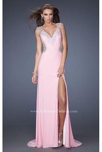 Pink V Neckline La Femme 19941 Prom Dresses