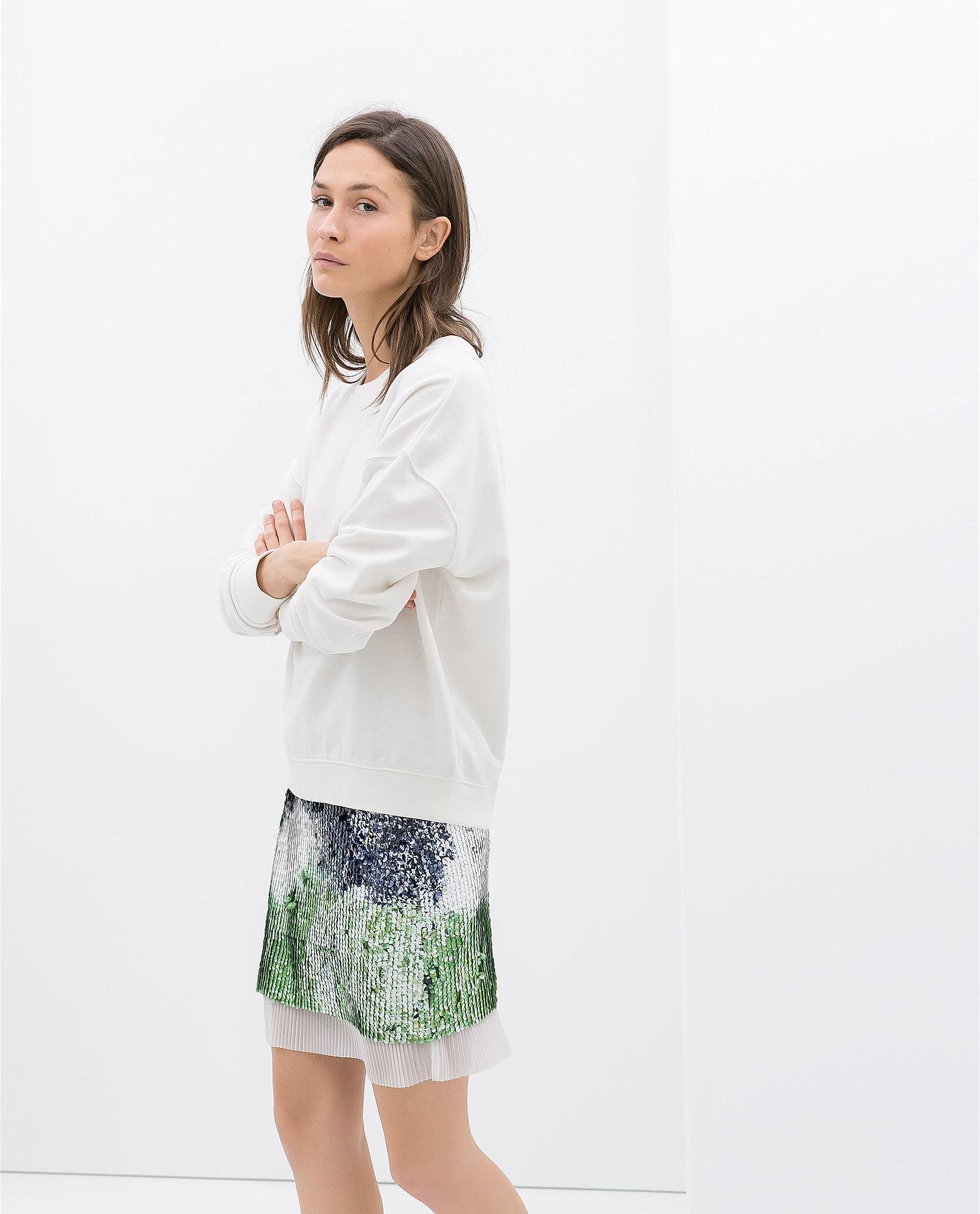 Zara Sequin and Pleated Miniskirt ($70)