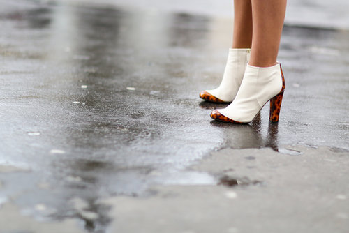 These white booties pack even more of a punch, thanks to tortoiseshell detailing.