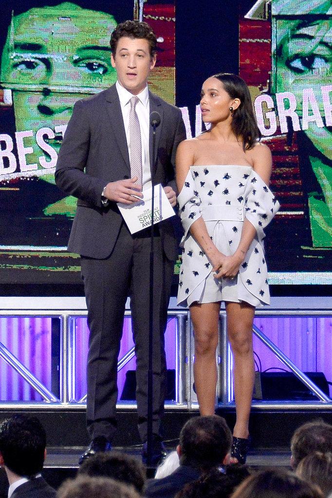 Miles Teller presented an award with Zoë Kravitz.