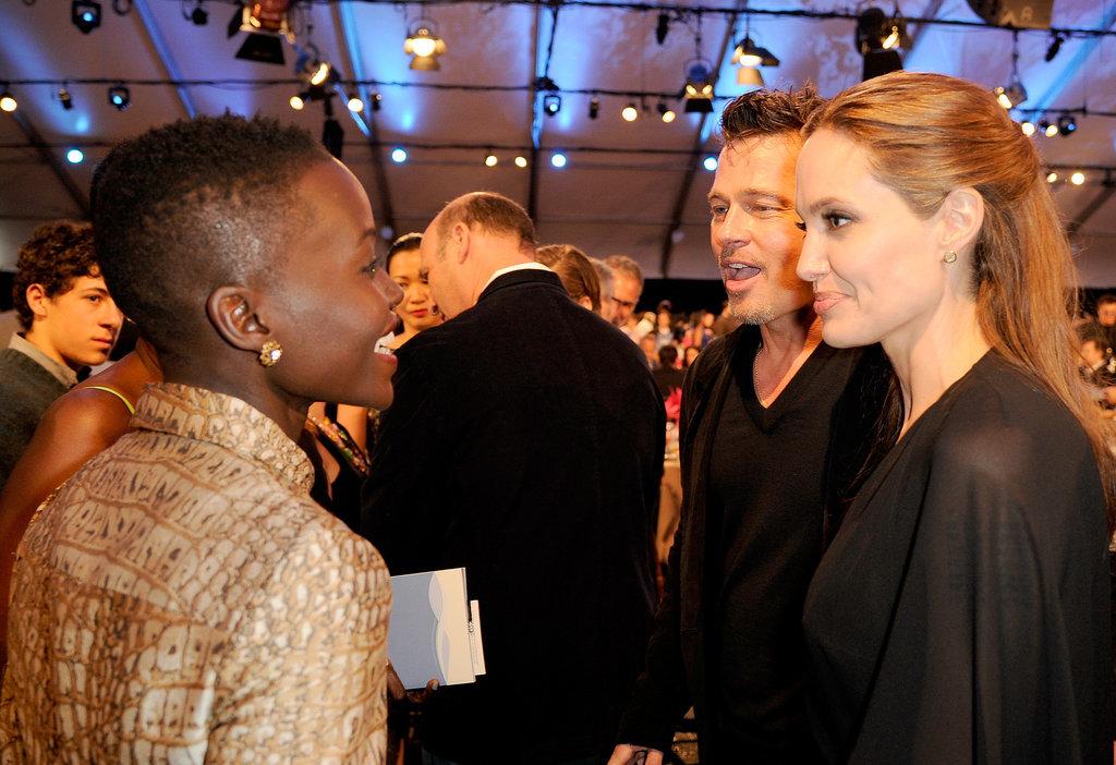 Lupita Nyong'o  had a smiley chat with Brad Pitt and Angelina Jolie at the Spirit Awards.