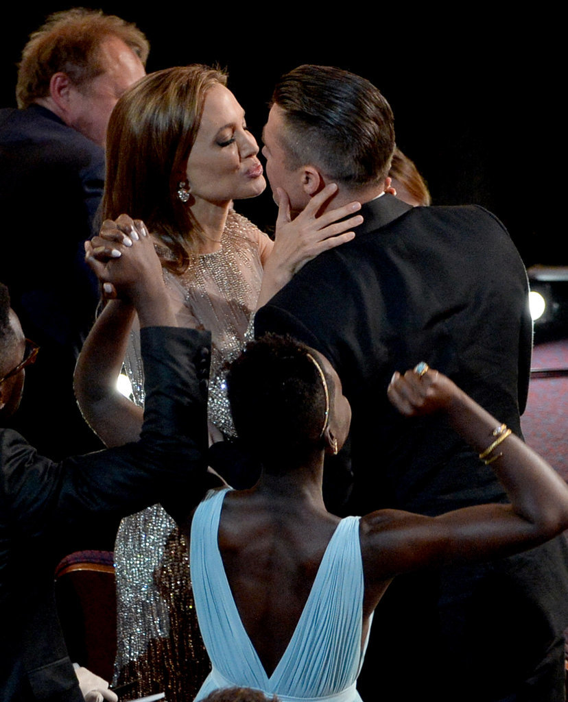 Brad Pitt and Angelina Jolie puckered up at the Oscars.
