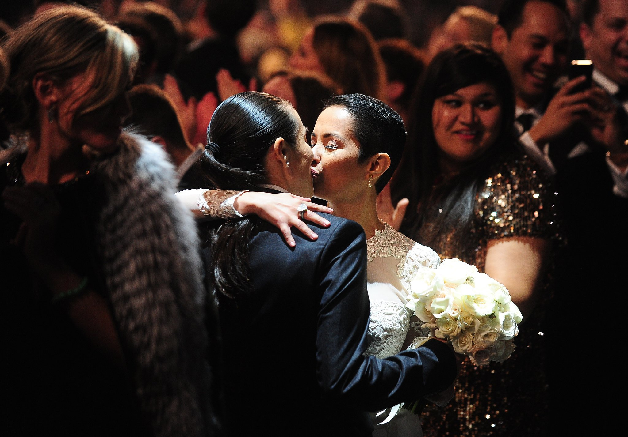 """More than 30 couples wed at the Grammy Awards during Macklemore & Ryan Lewis's performance of """"Same Love."""""""