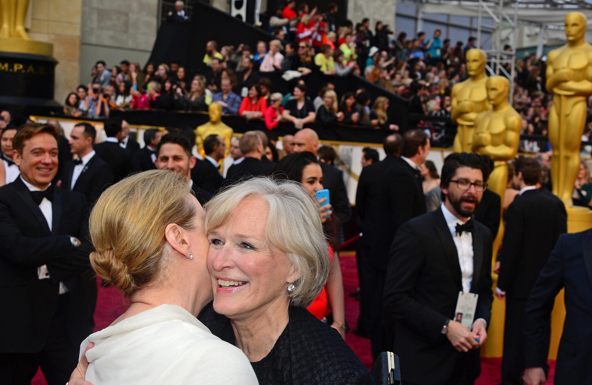 Meryl Streep and Glenn Close embraced on the Oscars red carpet.