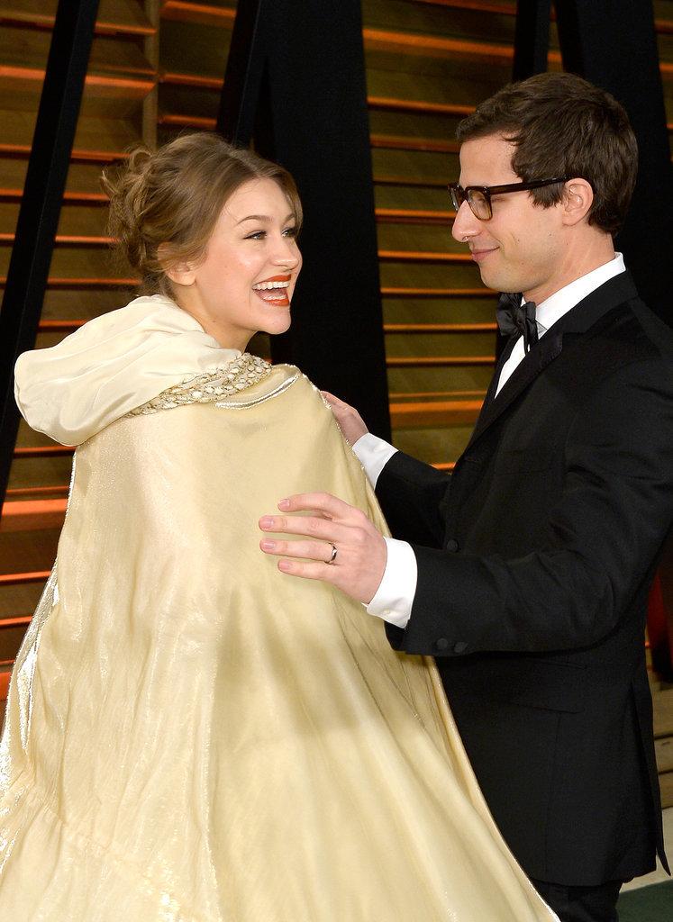 Andy Samberg gave Joanna Newsom a helping hand.