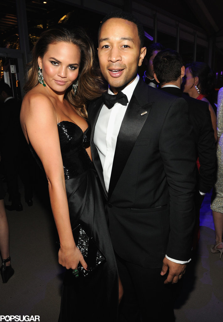 Chrissy Teigen and John Legend posed together after his performance at the bash.