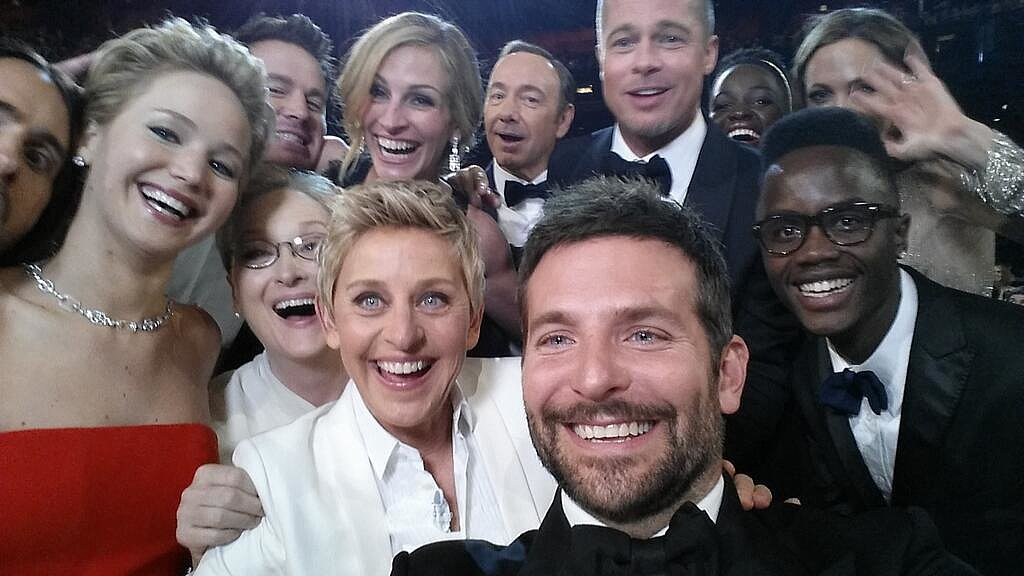 This snap became the most A-list — and most retweeted — selfie when Jennifer Lawrence, Bradley Cooper, Brad Pitt, Julia Roberts, Elle DeGeneres, and more squeezed in du