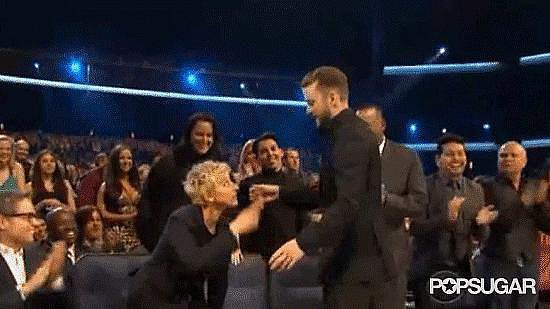 Ellen DeGeneres gave a kiss and hug to Justin Timberlake after pretending to accept his award at the Grammys.