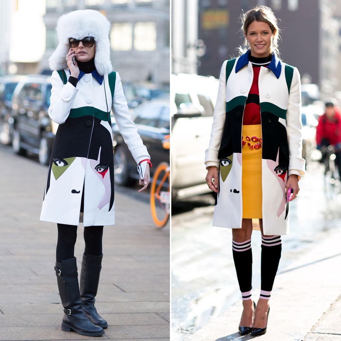 Giovanna Battaglia and Helena Bordon both made use of Prada's Spring '14 collection with their bold face-emblazoned coats.