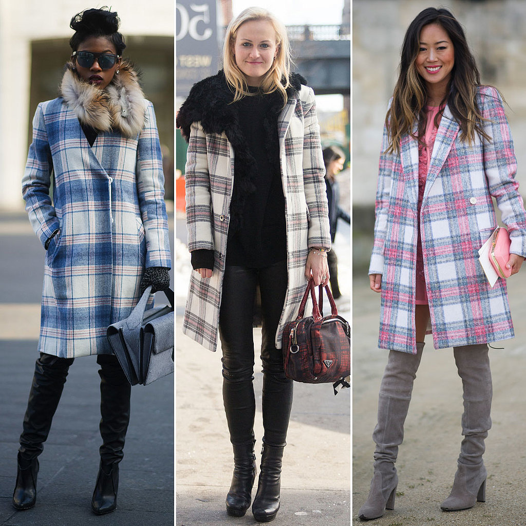We got three times the plaid from this trio in checked coats. Source: Getty and Melodie Jeng/The NYC Streets