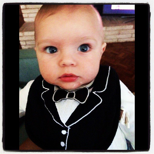 Axl Duhamel put on his best bib for his Academy Awards-viewing party. Source: Instagram user joshduhamel