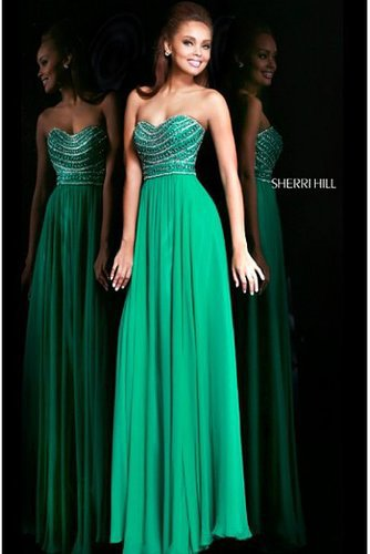 Sherri Hill 8546 Emerald Beaded Strapless 2014 Prom Dress