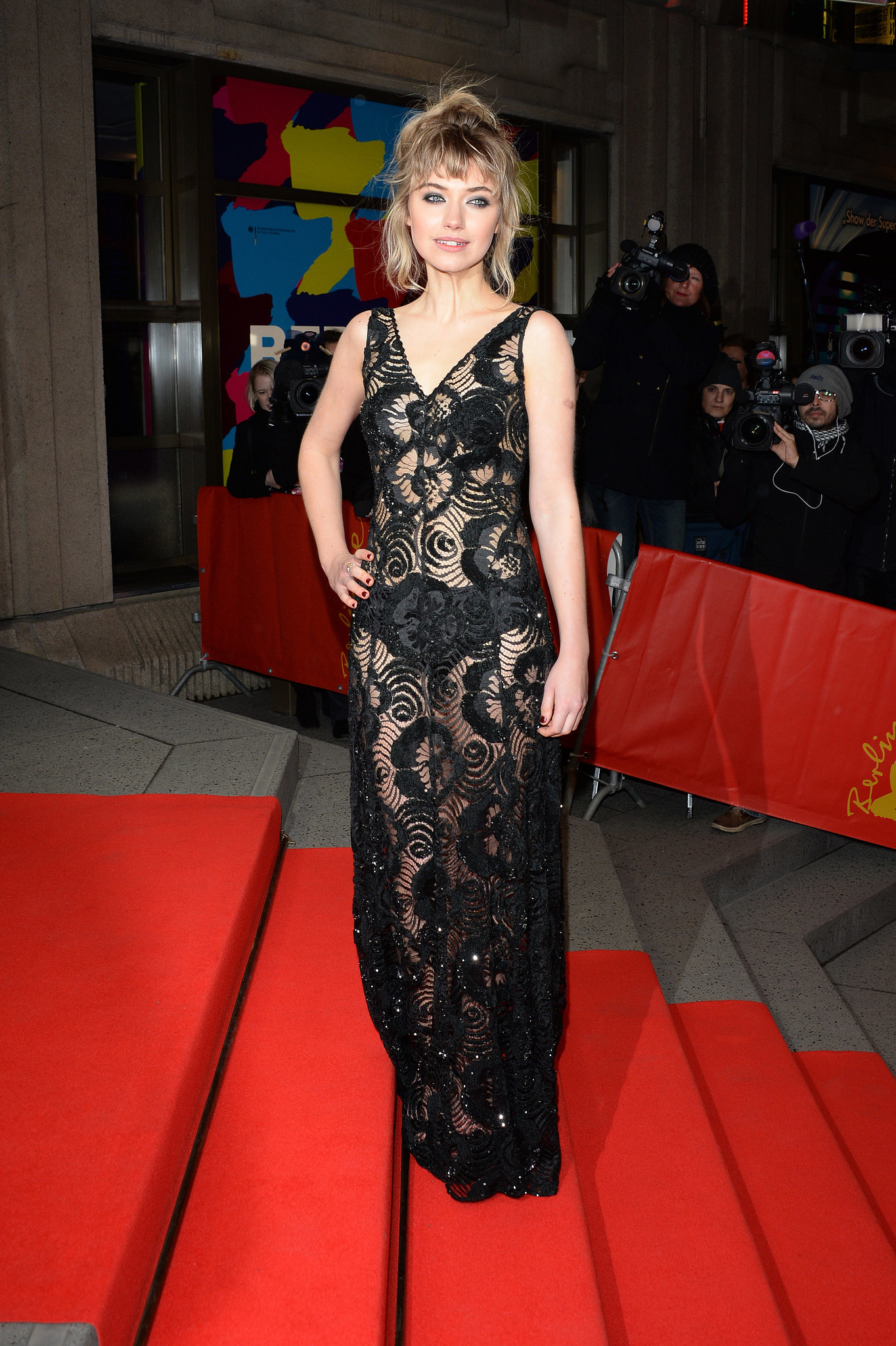 Imogen made a brave choice for the Berlin premiere of A Long Way Down opting for a lace Marc Jacobs dress that showed off her underwear.