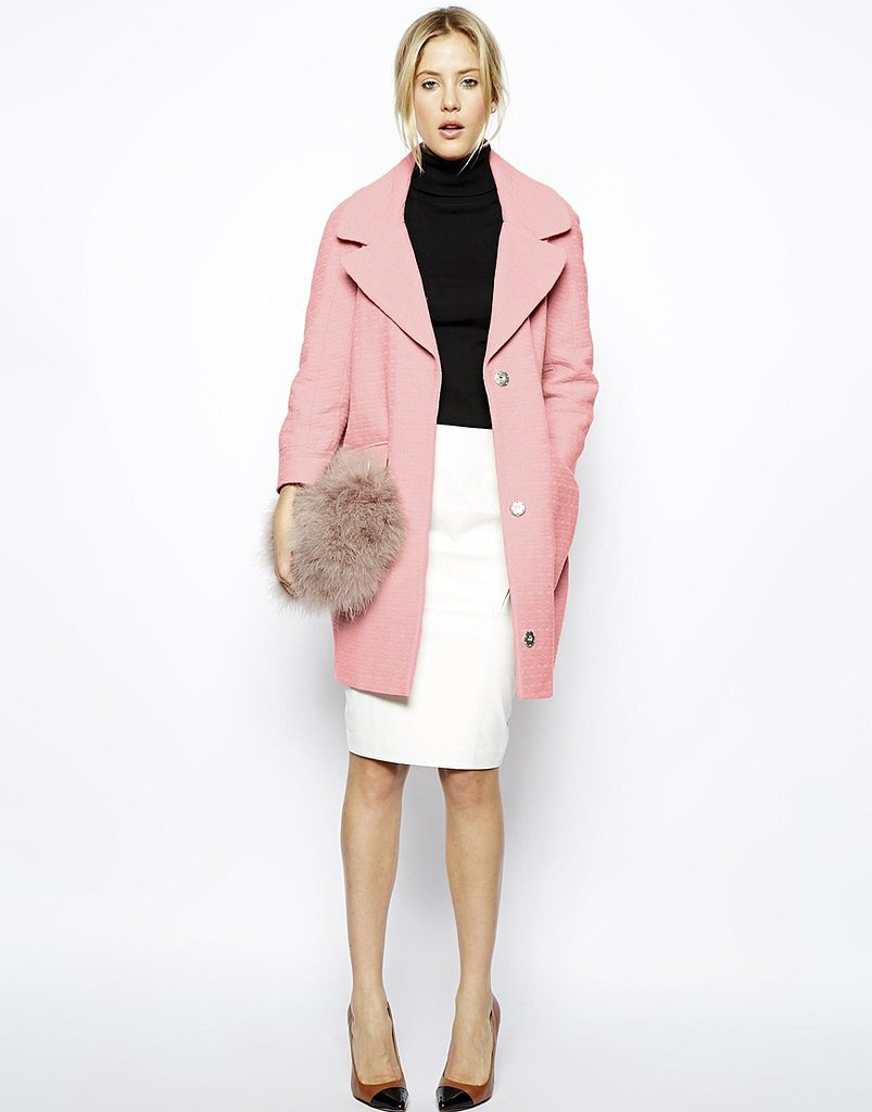 ASOS pink textured coat with oversize lapel ($160)