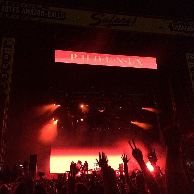 Publisher Alison took in the sounds of French band Phoenix at Future Music Festival on Saturday.