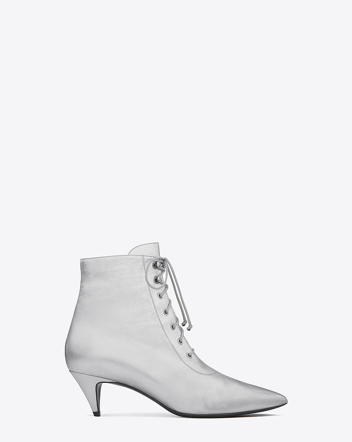 Saint Laurent Cat Boot in Silver Metallic Leather