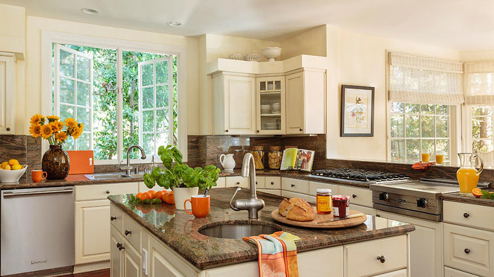 The large kitchen includes plenty of cabinet and counter space. Source: Domaine Home