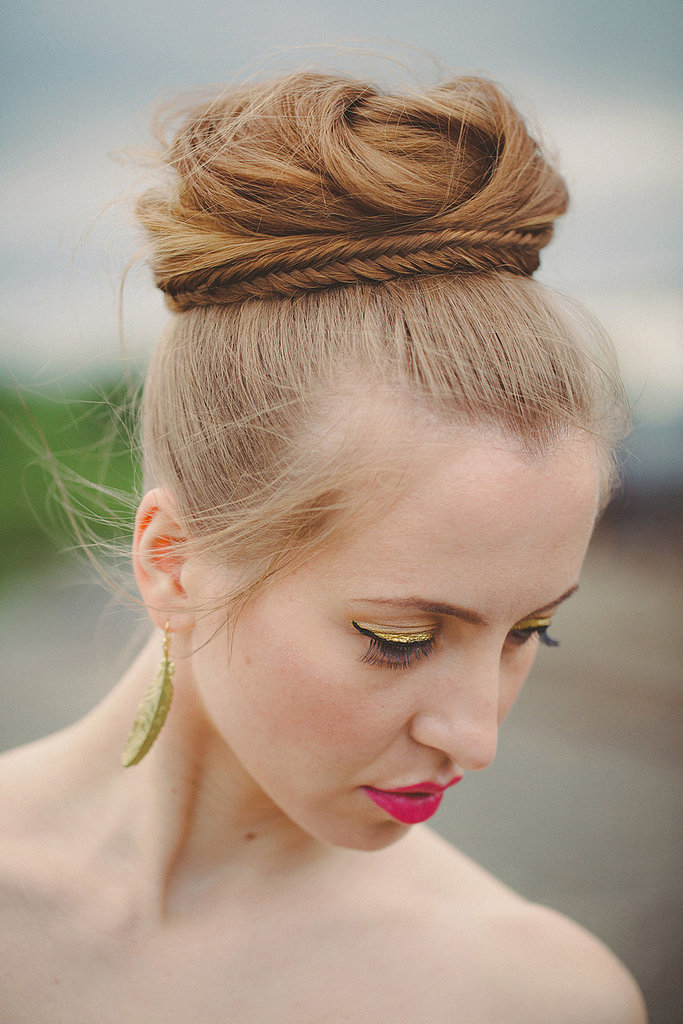 Bun With A Small Plait Unconventional Wedding Beauty