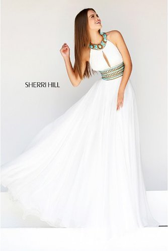 Sherri Hill 11086 White Beaded Keyhole 2014 Prom Dress