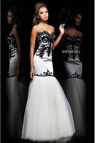 Sherri Hill 11122 Strapless Sweetheart White Black Prom Dress
