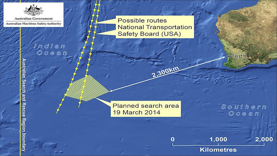 A map of the search area, which is roughly 1,430 miles off the coast of Australia. Source: AMSA